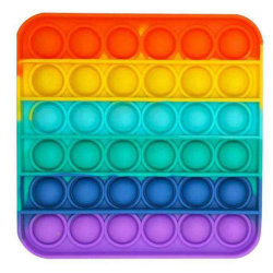 Pop it Fidget Sensorisk leksak med bubblor - Rainbow- Square flerfärgad