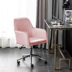 Sammet Ergonomisk kontorsstol med vippfunktion för hemmakontor rosa