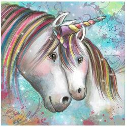 Unicorns - Diamantmålningssatser, hemväggsdekor, 30x30 cm flerfärgad