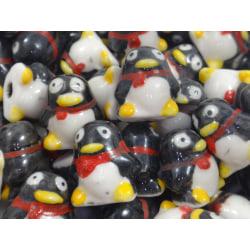 10st Porslinspärlor -Pingvin svart