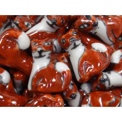 10st Porslinspärlor - Räv brun