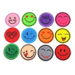 12st Tygmärken - Smileys - Storlek 4,7cm - Alla Olika flerfärgad 47 mm