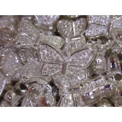 19st Silverfärgade Metallpärlor Fjärilar 10,5mm silver
