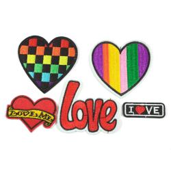 5st Tygmärken - Hjärtan mm - Alla Olika flerfärgad