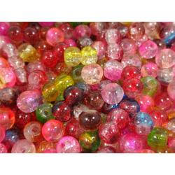 100st Crackle Glaspärlor 4mm- Blandade Färger  flerfärgad 4 mm