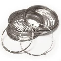 Memorywire för armband, 0.6mm x 6cm, stålfärgad, 10 varv