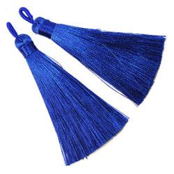 Tassels av polyester, ca 8cm, mörkblåa, 2st