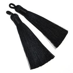 Tassels av polyester, ca 8cm, svarta, 2st