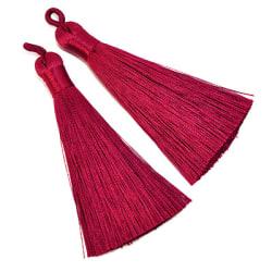 Tassels av polyester, ca 8cm, vinröda, 2st