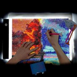 Ljusplatta A4 LED 3-lägen Dimmer Ljusbord / Ritplatta / Portabel Vit