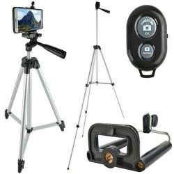 Tripod Mobilstativ Trebensstativ Stativ med Bluetooth /Kamerasta Silver