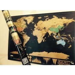 Stor Scratch Map - Världskarta / Skrapa de länder du har besökt  multifärg