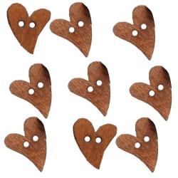 60 bruna hjärtan knappar