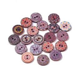 60st  vintage mönster runda knappa 25 mm