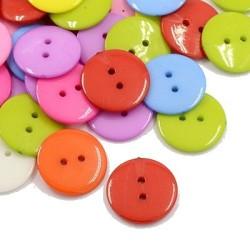 75 st flerfärgs akryl knappar 12 mm