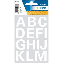 Märketikett Herma Vario 4169 Bokstäver A-Z 25mm, Vit, 2 ark/fp Vit