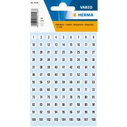 Märketikett Herma Vario 4128 Siffror 1-540, Ø 8 mm, Svart Vit