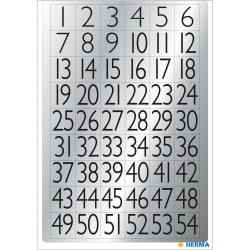 Märketikett Herma 4134 Siffror 1-100, 13x12mm, Svart/Silver Silver