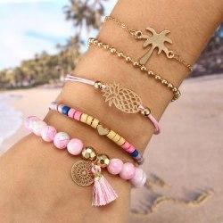 5 Stycken Armband - guld Stenar Ananas Palm Tassel Hjärta