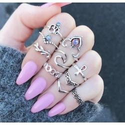 Boho Chic 10  pack Ringar Tibetsilver med kristaller