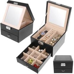 Smyckeskrin / Klockbox med spegel och lås Svart