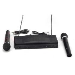 Karaoke set med 2 trådlösa mikrofoner Svart