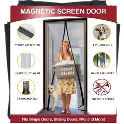 Myggnät för dörr med magnetstängning. Svart