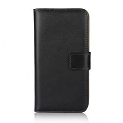 Plånboksfodral iPhone 12 / 12 Pro, äkta skinn Svart