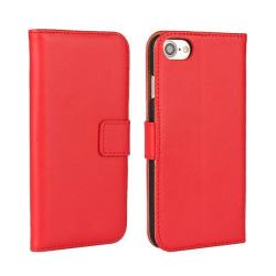 Plånboksfodral iPhone 7 / 8 / SE (2020), äkta skinn Röd