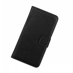Plånboksfodral Samsung A12, Äkta skinn Svart