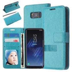 Plånboksfodral Samsung S8 Plus, 3 kort/ID Turkos