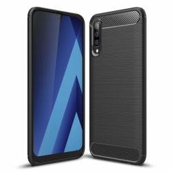 Samsung A70 - Skal Gummi i kolfiberdesign - Svart Svart