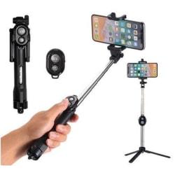 Selfiestick / tripod mobilstativ med bluetooth fjärrkontroll Svart