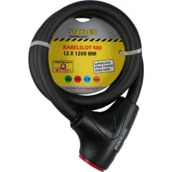 Stahlex cykellås - 12mm x 1.2 m - Vajerlås  Svart