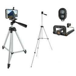 Selfie / Tripod Mobilstativ Pro med Bluetooth fjärrkontroll Silver