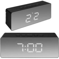 Väckarklocka Digital - Spegelglas med termometer Svart
