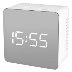 Väckarklocka Digital Spegelglas med termometer Vit Vit