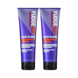 2-Pack Fudge Clean Blonde Violet Toning Shampoo 250ml Transparent