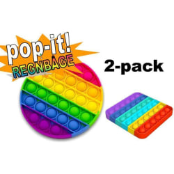 2-pack Pop It Fidget Toy Original - Regnbåge - CE Godkända multifärg one size