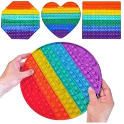 4-pack Stor Pop It Fidget Toy Original - Regnbåge - CE Godkända multifärg