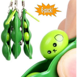 6-Pack - Green Beans - Bönor - Fidget Toys - Leksak / Sensory Gr Grön one size