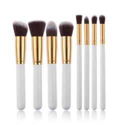 8 st. Vita / Guld Make-up / sminkborstar av bästa kvalité