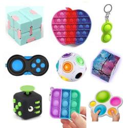 PRO set - 9 st. Fidget Toys Set för barn och vuxna NYHET multifärg one size
