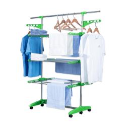 Herzberg HG-5015; Rörlig klädhängare grön