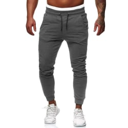 Men Contrasting Color Ankle Sweatpants Casual Sports Pants Gray,L