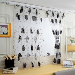 Floral Sheer Voile Curtains Room home decoration Grey,100x200cm