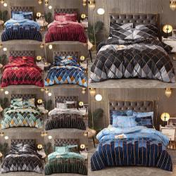 2/3Pcs Geometric Duvet Quilt Cover Set Bedding Set + Pillowcase Green Geometric 2Pcs/Set,135x200cm