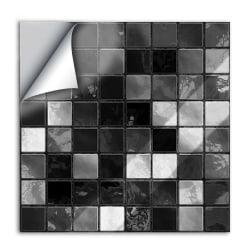 25Pcs Modern Style Tile Stickers Mosaic Self-Adhesive Home Decor Black,15x15cm