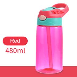 480ml Kids Straw Water Bottle Plastic Portable Keep warm PC Red