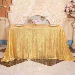 Sequin Tablecloth Table Cloth Cover Wedding Party Banquet Decor Gold 180x180cm